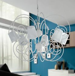Hanging Chandelier Lamp Classic Wrought Iron Lamp Shades Damasked