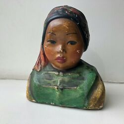 Rare Original Esther Hunt 1920s Hand Painted Chalk Bust Ah Fay 6x5.5x3
