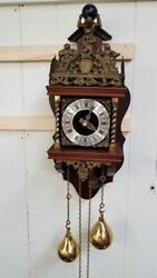 Franz Hermle Cuckoo Clock Made In Holland Antique Vintage Wood And Brass
