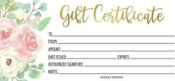 25 Pink And Gold Floral Blank Gift Certificates For Small Business, Paper...
