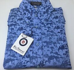 Collectible Ben Sherman Menand039s Blue Beatles Short Sleeve Button Down Shirt Size1s