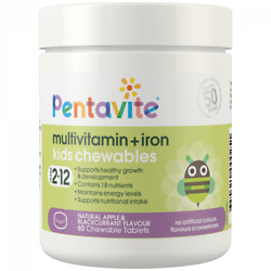 Pentavite Multivitamin Iron Kids 60 Chewable Tablets Apple amp; Blackcurrant