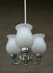 Gorgeous French Brass Chrome Dolphin Fish 3 Arm Opaline Shade Chandelier Lamp