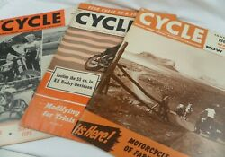 3 Vintage Cycle Motorcycle Magazines Harley Davidson Indian Triumph 1950's 60s
