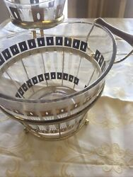 4 Piece Vintage Fred Press Signed Glass Gold Design Chip And Dip Bowls 1960's