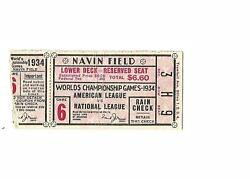 1934 Detroit Tigers-cardinals World Series Ticket Stub Game 6 Cards Win Nice
