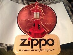 Zippo Lighter Sign Metal Embossed Penny Lantern Rare Excellent Condition 14 X10