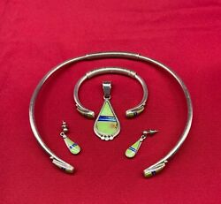C. Webster Green Turquoise And Sterling Silver Earrings Cuff Pendant Choker Navajo