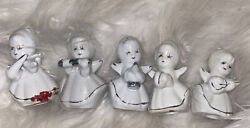 Lot Of 5 White Porcelain Angel Ornaments With Silver Trim Playing Instrument