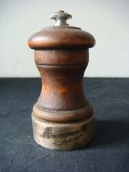 Rrr Rare Antique Wooden And Silver Peugeot Pepper Grinder Mill Freres
