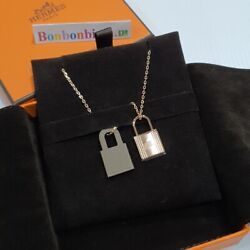 New Hermes Necklace O'kelly And Leather Pendant Necklace Rose Gold Hardware Dhl
