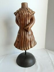 Hand Carved Wood Mannequin Bust Necklace Jewellery Display Hat Stand 16