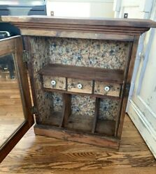 Antique Vintage Wooden Glass Door Display Cabinet Wall Hanging Farmhouse