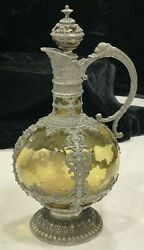 Magnificent German 19th C. Green Glass And Pewter Wine Decanter W/crown Stopper