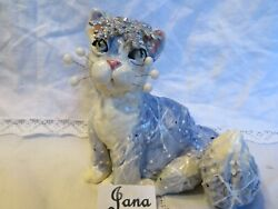 Snowflake cat quot;Janaquot; signed Original WhimsiClay by Amy Lacombe USA free pin