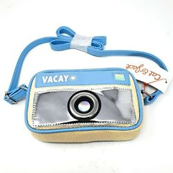 Cat amp; Jack Crossbody Girls Purse Shiny Blue Tan Vacay Camera Zipper NEW $9.99