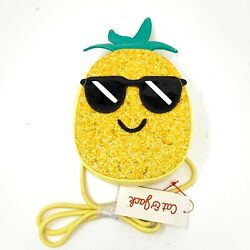 Cat amp; Jack Crossbody Girls Purse Glitter Yellow Pineapple Sunglases Zipper NEW $9.99