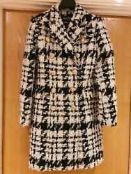 Current Balmain Black And White Check Double-breasted Tweed Coat Jacket - Uk12