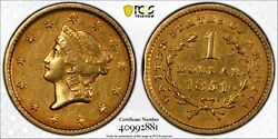 1851 1 Liberty Gold Dollar Coin Certified Pcgs Xf Details Pre Us Civil War 2881