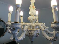 Chandelier French Limoge 6 Arms