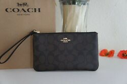 NWT COACH F58695 Large Signature Canvas amp; Leather Wristlet Wallet Brown Black $59.80