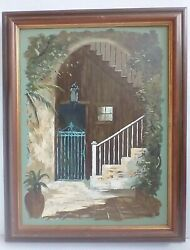 Eugene Daymude Dand039mude 1925-1995 Painting New Orleans French Quarter Patio 1967