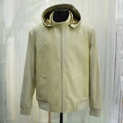 Zilli Real Python Leather Genuine Suede Menand039s Creme White Hooded Jacket