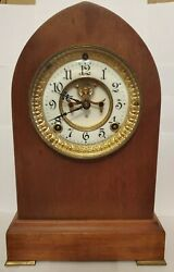 Victorian 1881 Ansonia Henley Wood Beehive Clock 8-day Time/strike - With Key