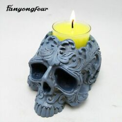 3d Skull Silicone Mold Candlestick Baking Diy Mould Gypsum Resin Chocolate Candy