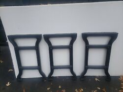 Antique Cast Iron Table Legs Rare3pc Set 32hg20wd 3wdtop Mt With Tiebar Holes