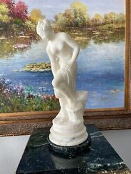 19th Century Alabaster Statue Gorgeous And Very Stately And Very Pretty 19andrdquo Tall