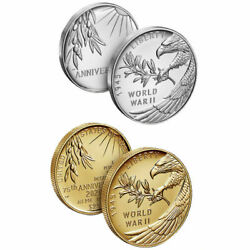 End Of World War Ii 75th Anniversary 24-karat Gold Coin And Silver Medal 20xg 20xh