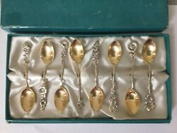 Reed And Barton Sterling Harlequin Demitasse Spoon Complete Set Of 8 In Box Gilt
