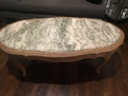 Mid Century Marble Top French Provincial Louis Vi Style Coffee Table