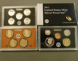 2011 U.s. Silver Proof Set Complete With All Coins And Cards Quarters Dollars
