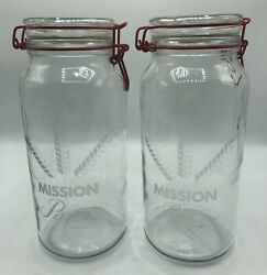 Two Vintage Mission Pasta Glass Canister Jars With Red Wire Bale Clamps, Large