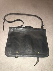 IL BISONTE Leather Messenger Crossbody Men#x27;s Bag BLACK Made In Italy $175.00