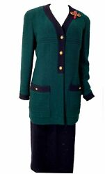 Vintage 93a, 1993 Fall Green Navy Blue Skirt Suit Set Us 10