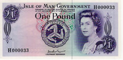 1979 Isle Of Man Andpound1 One Pound Banknote Serial No. H000033 John W. Paul P29d Unc