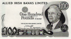 Northern Ireland Andpound100 Pounds Allied Irish Banks Limited Banknote P5 Unc Rare