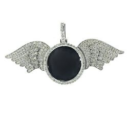 10k White Gold Round Wings Picture Pendant 3.00ctw Diamond 35mm Tall 73mm Wide