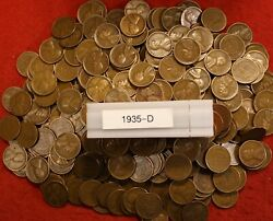 1935-d Lincoln Wheat Cent Penny 250 Coins 5 Rolls Av Circ Collector Coins Gift