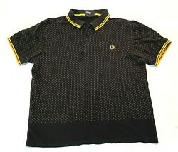 Fred Perry Polo Shirt Black and Yellow w Red Dots XL Slim $48.95