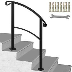 Wrought Iron Handrail Black Stair Fits 1 or 3 Steps Hand Rails for Outdoor Steps