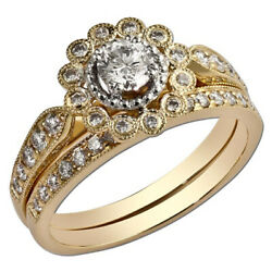 Christmas Ring 1.30 Ct Real Round Natural Diamond 14k Yellow Gold Size 6 7 8 9