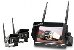Wireless Backup System For Rv,truck,agriculture,trailer 7 Inch Monitor 2 Camera