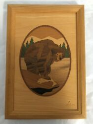 Hudson River Inlay Nelson Vintage Wooden Marquetry Bear No 6 Picture 7 X 10
