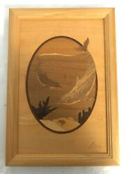Hudson River Inlay Nelson Vintage Wooden Marquetry Dolphins No 122 7 X 10