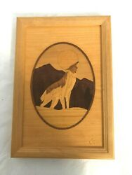 Hudson River Inlay Nelson Vintage Wooden Marquetry Wolf No 73 Picture 7 X 10