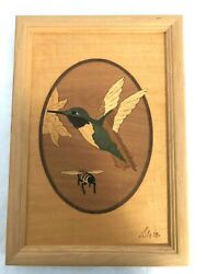 Hudson River Inlay Nelson Vintage Marquetry Hummingbird And Bee No 2 7 X 10